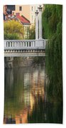 Cobblers Bridge And Morning Reflections In Ljubljana Beach Towel by Greg Matchick
