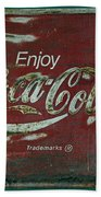 Coca Cola Green Red Grunge Sign Beach Towel