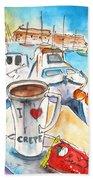 Coffee Break In Heraklion In Crete Beach Towel