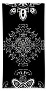 Coffee Flowers Ornate Medallions Bw Vertical Tryptych 1 Beach Towel