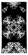 Coffee Flowers Ornate Medallions Bw Vertical Tryptych 2 Beach Towel