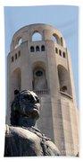 Coit Tower Statue Columbus Beach Towel