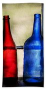 Collector - Bottles - Two Empty Wine Bottles  Beach Towel