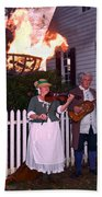 Colonial Musicians By Firelight Beach Towel