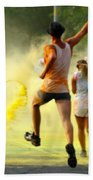 Color Run Happy Beach Towel