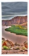 Colorado River Flows Through A Stormy Moab Portal Beach Towel
