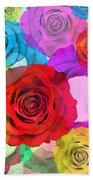 Colorful Floral Design  Beach Towel by Setsiri Silapasuwanchai