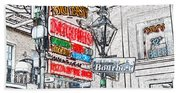 Colorful Neon Sign On Bourbon Street Corner French Quarter New Orleans Colored Pencil Digital Art Beach Towel