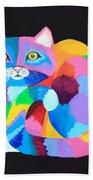 Colorful Rainbow Cat Beach Towel