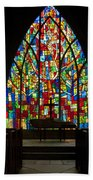 Colorful Stained Glass Chapel Window Beach Towel