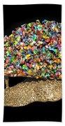 Colorful Welded Steel Encaustic On Wood Sculpture Beach Towel