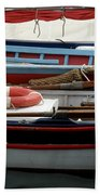 Colorful Wooden Boats Beach Towel