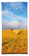 Combine Harvesting, Wheat, Ireland Beach Towel