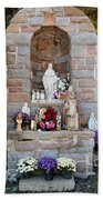 Comparison Mother Mary Shrine Beach Towel
