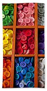 Compartments Full Of Buttons Beach Towel by Garry Gay