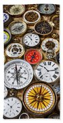 Compases And Pocket Watches  Beach Towel