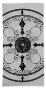 Compass In Black And White Beach Towel