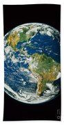 Composite Image Of Whole Earth Blue Beach Towel