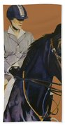 Concentration - Hunter Jumper Horse And Rider Beach Towel