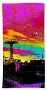 Coney Island In Neon B Flat Minor Beach Towel