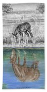 Contemplating Reality - Mare And Foal Horse Print Beach Sheet