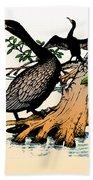 Cormorants On Mangrove Stumps Filtered Beach Towel