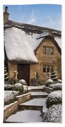 Cotswolds Cottage Covered In Snow Beach Towel