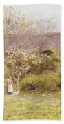 Cottage Freshwater Isle Of Wight Beach Towel by Helen Allingham