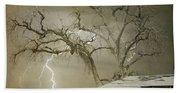 Country Horses Lightning Storm Ne Boulder Co 66v Bw Art Beach Towel