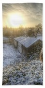 Country Snow And Sunrise Beach Towel by Yhun Suarez