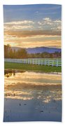 Country Sunset Reflection Beach Towel