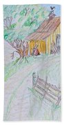 Country Woodshed Beach Towel by Debbie Portwood