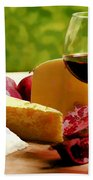 Countryside Wine  Cheese And Fruit Beach Towel by Elaine Plesser