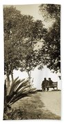 Couple On The Bench In Venice Beach Towel by Madeline Ellis