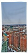 Courthouse And Statler Towers Winter Beach Towel
