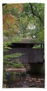 Covered Bridge By The Cottage  Beach Towel