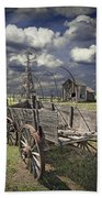 Covered Wagon And Farm In 1880 Town Beach Towel