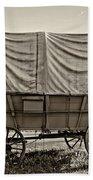 Covered Wagon Sepia Beach Towel