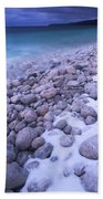Covered With Snow Pebbled Shore Of Georgian Bay Beach Towel