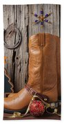 Cowboy Boots And Christmas Ornaments Beach Towel