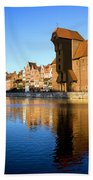 Crane In The Old Town Of Gdansk Beach Towel