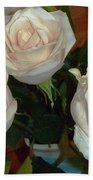 Creamy Roses II Beach Towel