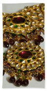 Cross Section Of A Purple And Yellow Gold Beautiful Necklace Beach Towel by Ashish Agarwal