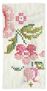 Cross Stitch Flower 1 Beach Towel