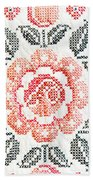 Cross Stitch Roses Beach Towel