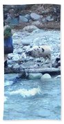 Crossing The Ourika River Beach Towel