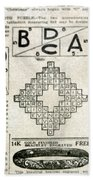 Crossword Puzzle, 1913 Beach Towel