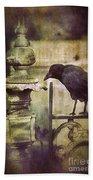 Crow On Iron Gate Beach Towel