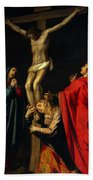Crucification At Night Beach Sheet