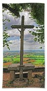 Crucifix Overlooking The French Countryside Beach Towel